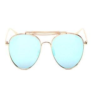 Gafas de sol CASSBOJUE V1 Marco dorado metálico Lentes azules