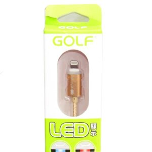 CABLE DE DATO GOLF IPHONE 5 CARGA RAPIDA CON LED - DORADO